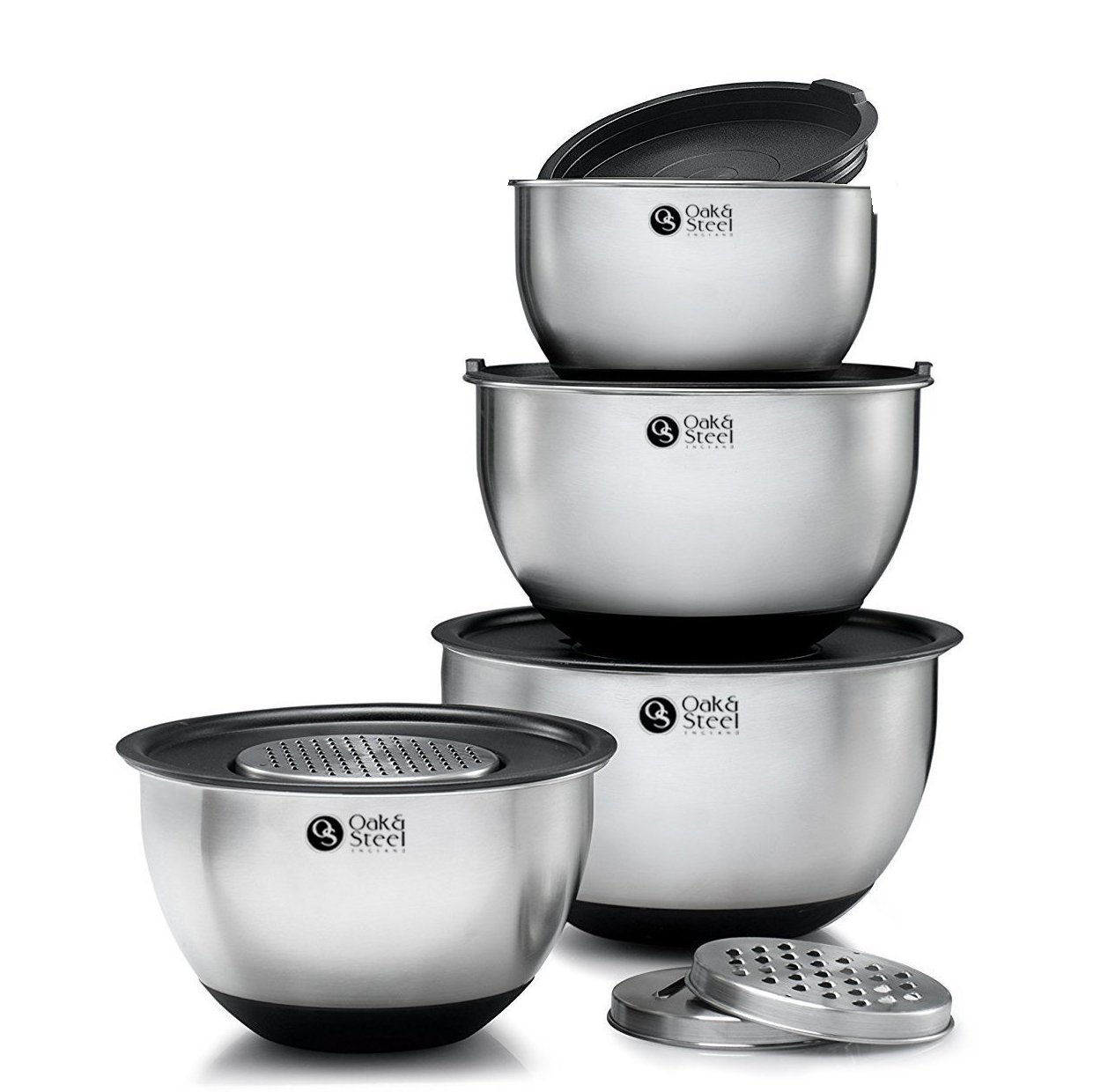 11 Piece Stainless Steel Mixing Bowl Set - 4 Sizes including Extra Large - Nesting Design with Rubber Grip base - 4 Sealable Lids & 3 Grating attachments OS Oak & Steel ENGLAND