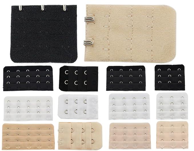 e0bd30d43d BONAMART 12 PCS Assorted Bra Extender Strap 2 3 4 5 Hook 3 Row Spacing at  Amazon Women s Clothing store