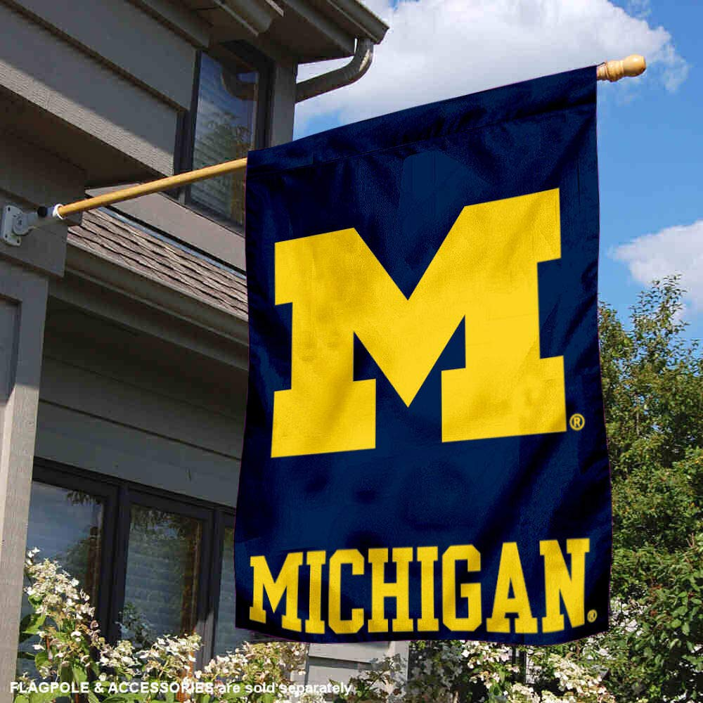 College Flags and Banners Co University of Michigan Wolverines UM House Flag