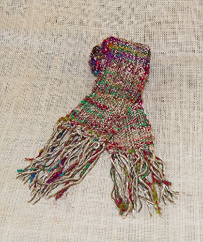 Handwoven Women's Scarf. Recycled Sari Silk & Silver Grey Chenille. -