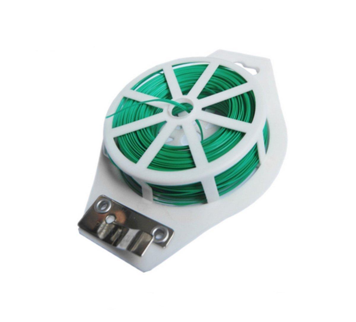 HYINDOOR 164ft Plastic Twist Tie Spool roll with Cutter for Garden Yard Plant Green PVC Twist Tie Line YD-TT164