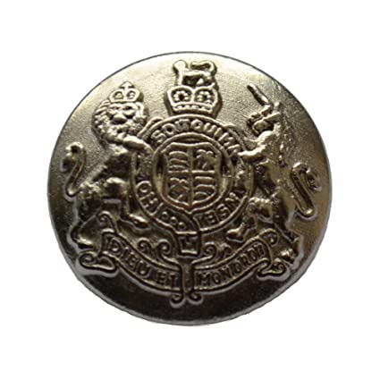 METAL MATT SILVER MILITARY ROYAL COAT OF ARMS CREST SHANK BUTTONS 20mm 32L  (6)