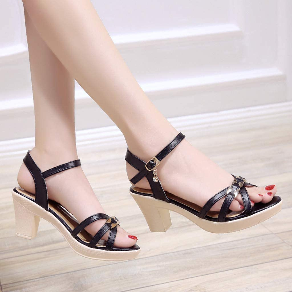 Pandaie Womens .. Sandals Womens Fashion Platform Casual Peep Toe Thick Heel Work Shoes High Heel Sandals