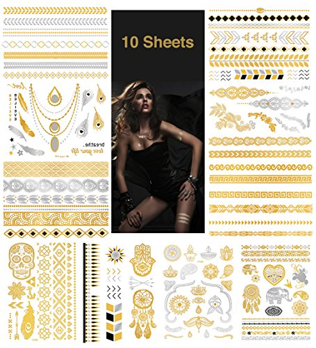 Metallic Temporary Tattoos - Waterproof Nontoxic 150+ Designs 10 Large Sheets Flash Fake Tattoos Stickers in Gold, Rose Gold & Silver, Gold101
