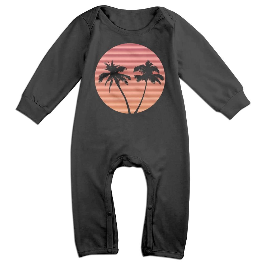 Mrei-leo Newborn Baby Long Sleeved Coveralls Retro Wave Palm Tree Sunset Toddler Jumpsuit