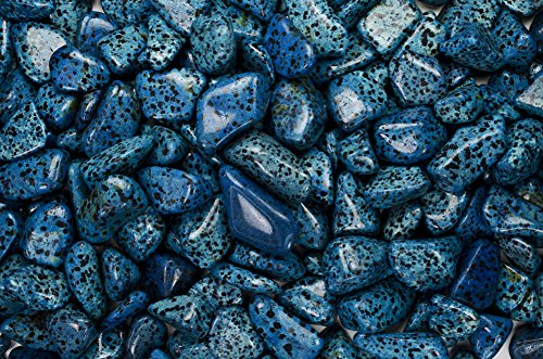 (Fantasia Materials: 3 lbs Tumbled Blue Dalmatian Jasper AA Grade Stones from Mexico - Large 1