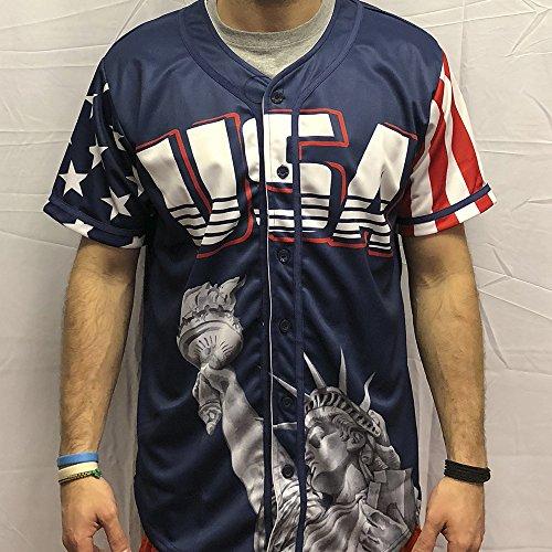 9ad6787debf Greater Half Custom Baseball Jersey Button Down USA Blue America  1  (Small-4XL