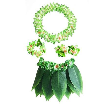 e2b58e40785f 5-Pack Hawaiian Grass Hula Skirts Sets - Flower Bracelets Headband Necklace  Wreath for Hawaii