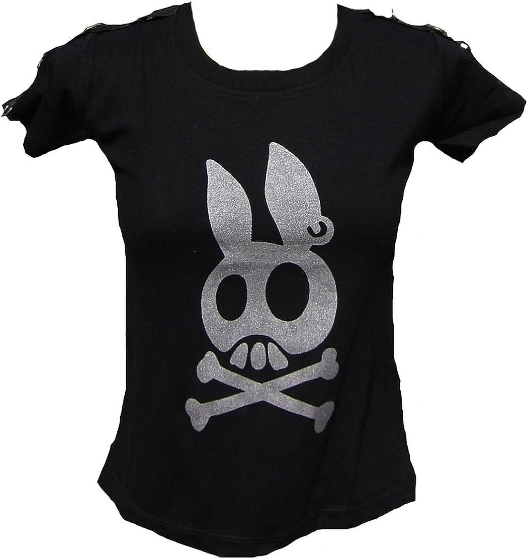 Rockabilly Punk Rock Baby Mujer Designer Silver Logo – Camiseta Sweet pirata calavera Rabbit Plata purpurina conejos Calavera Negro negro 36/38: Amazon.es: Ropa y accesorios