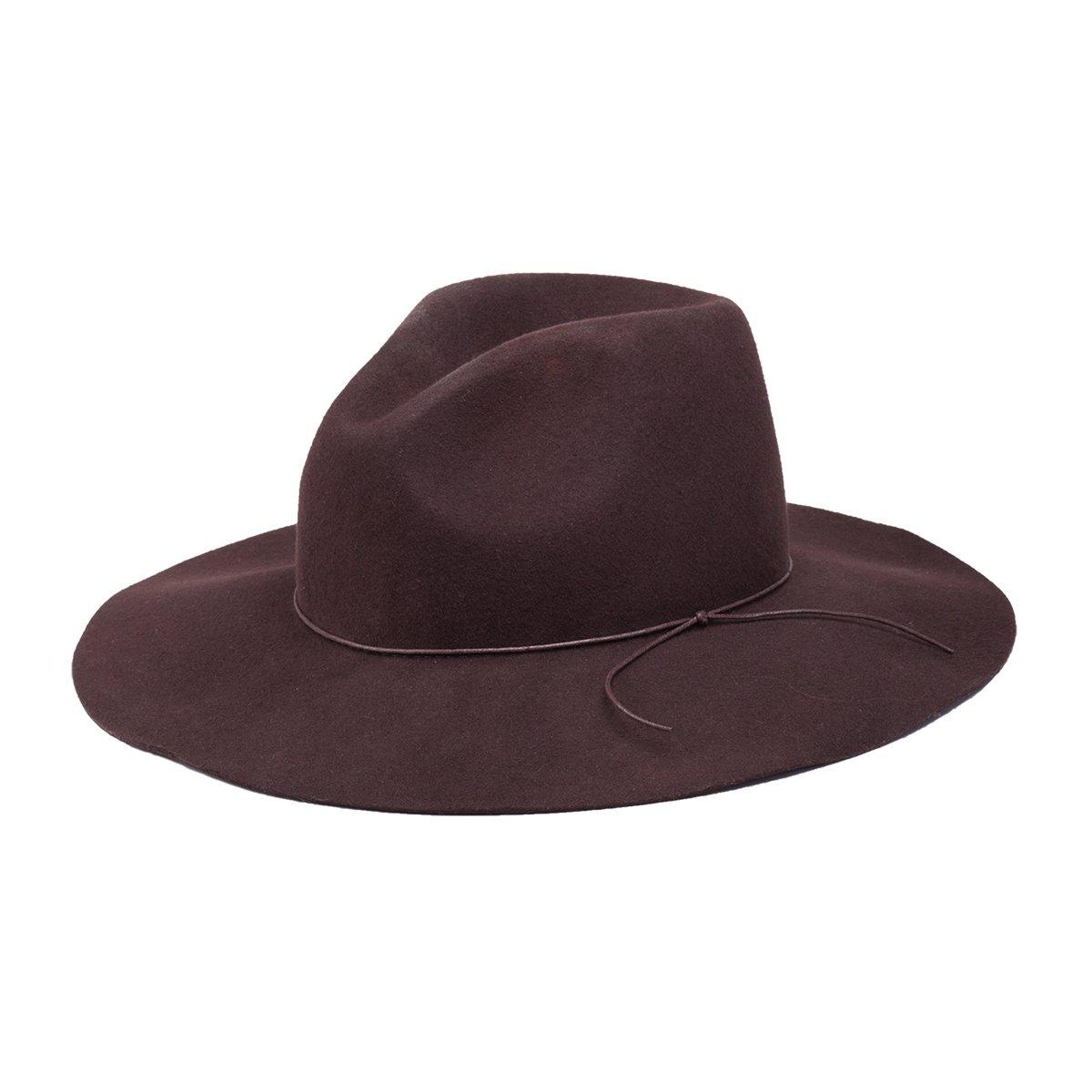 Peter Grimm Zima Wool Felt Sun Hat – Wide Brim Sable Fedora - Brown