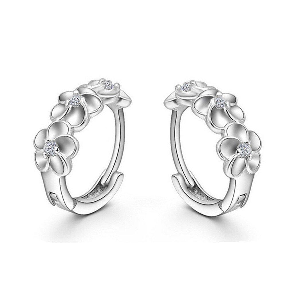 925 Sterling Silver Plated Cubic Zirconia Plum blossom Flower Womens Hoop Earrings XCFS XCFS83