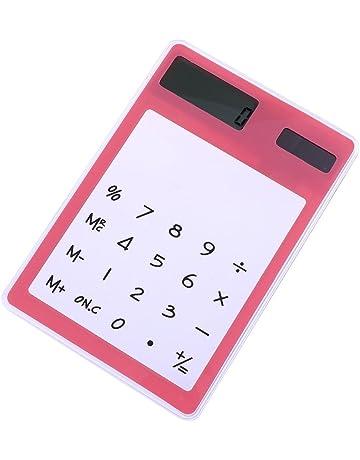Calculadora Transparente y Táctil con Energía Solar Suministros de Escritorio Creativos(rosado)