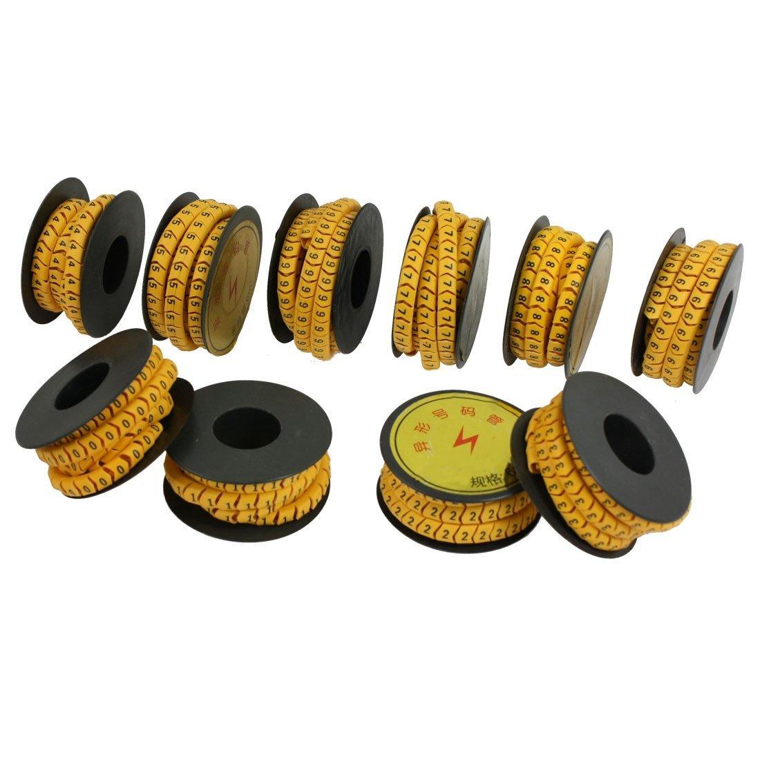 10 Rolls amarillo flexible de PVC Nú mero 0-9 Imprimir 6mm2 cable de alambre de marcadores DealMux DLM-B008S9M44K