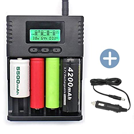 SUPEREX Smart Universal Battery Charger with Car Charger For AA AAA 18650  26650 C CR123a, lithium ion/Ni-MH 3 7V, 3 2V, 1 2V rechargeable batteries