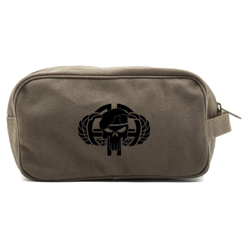 82nd Airborne Canvas Shower Kit Travel Toiletry Bag Case, Olive Black