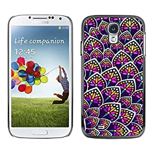 Design for Girls Plastic Cover Case FOR Samsung Galaxy S4 Rainbow Floral Colors Purple Pattern OBBA