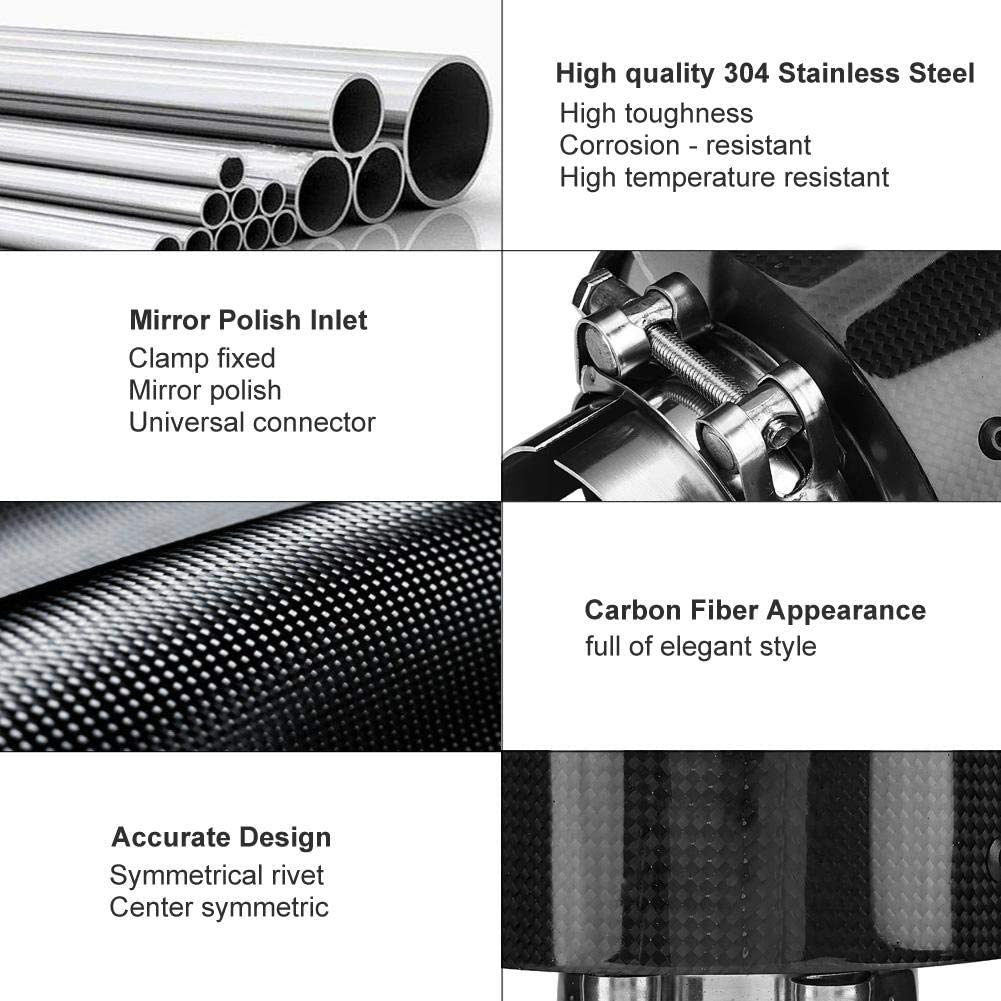KIMISS Car Modified Single Outlet Exhaust Pipe Carbon Fiber Style Stainless Steel Muffler Tip Tail Throat 63-114mm for Cars With 60mm Diameter Exhaust Pipe