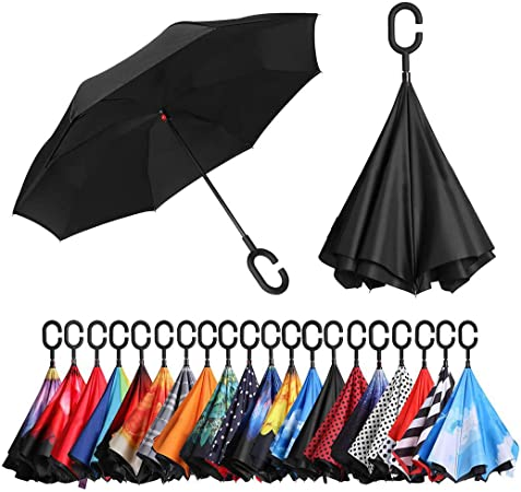 C Shape Handle Handle /& Windproof Inside Out Brolly Windproof Double Canopy Vented Umbrella Black