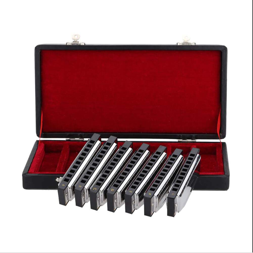 MG.QING 10 Holes Harmonica harp Blues Diatonic Blues Harmonica 7 Units (A-G) w/Exquisite Box Harmonica + Wipes by MG.QING