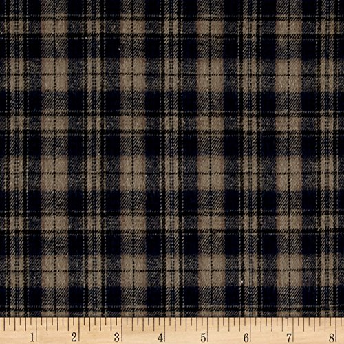 Richland Textiles Yarn Dyed Flannel Plaid Navy Khaki Fabric By The Yard (Oz 5 Shirt Flannel)