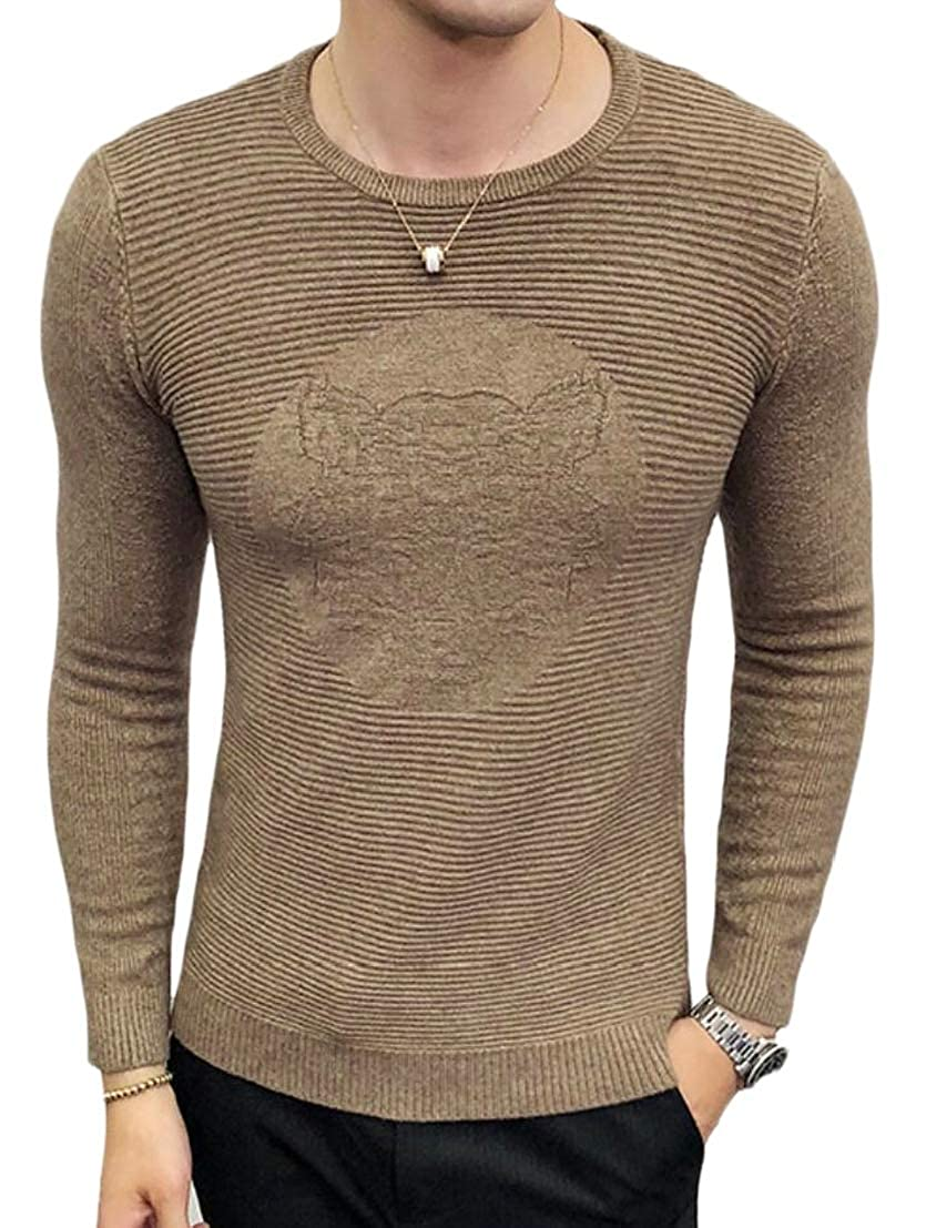 Generic Mens Printing Stylish Slim Fit Knitwear Knitted Round Neck Pullover Sweaters