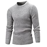 Doris Batchelor Trendy Men Winter Pullover Casual Sweater Male O-Neck Solid Simple Slim Fit Knitting Mens Sweaters Man Light Gray XXL