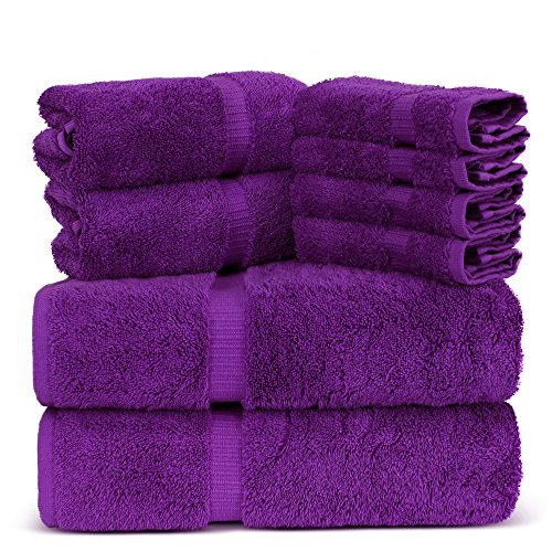 Luxury Spa and Hotel Quality Premium Turkish 8 Pieces Towel Set (2 x Bath Towels, 2 x Hand Towels, 4 x Wash Cloths, Eggplant)