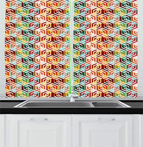 Ambesonne Geometric Kitchen Curtains, Abstract Isometric Hexagonal Shaped Pattern Colorful Retro Design Print, Window Drapes 2 Panels Set for Kitchen Cafe, 55 W X 39 L Inches, Orange Mustard (Shade Hexagonal Shaped)