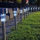 Garden Mile Pack Of 10 Bright White LED Solar Lights Garden Lighting Garden Ornaments LED Solar Lights Outdoor Pathway Lights Or Landscap