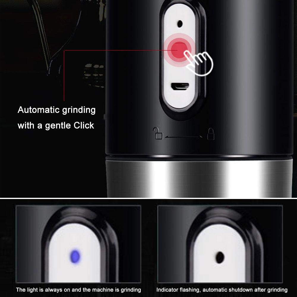 Layopo Electric Coffee Grinder USB Rechargeable Smart Coffee Bean Grinder- Multi-Function Stainless Steel Personal Coffee Grinder Coffee Cup with Filter for Office, Home, Travel, Camping by Layopo (Image #6)