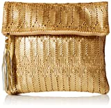 'ale by alessandra Women's La Pluma Vegan Leather Clutch, Gold, One Size
