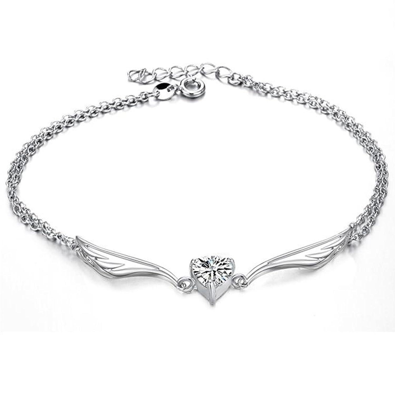 Beydodo Argent Cœur de cheville Bracelet de cheville avec breloques Ailes d'ange Cœur Cut Oxyde de Zirconium Cheville