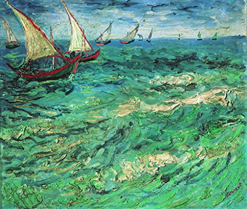 Wieco Art Sailing Boats Canvas Prints Wall Art of Van Gogh Famous Oil Paintings Reproduction Sea Waves Pictures Photo for Bedroom Home Decorations Modern Stretched and Framed Seascape Giclee Artwork (Painting Oil Ocean)