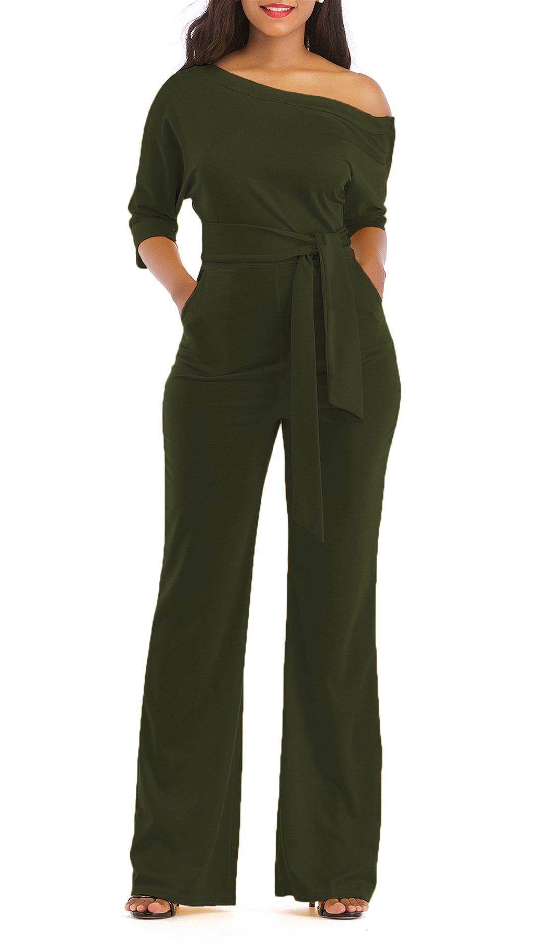 ONLYSHE Women's Elegant One Shoulder Wide Leg Boot Cut Jumpsuit with Belt Dark Green Medium