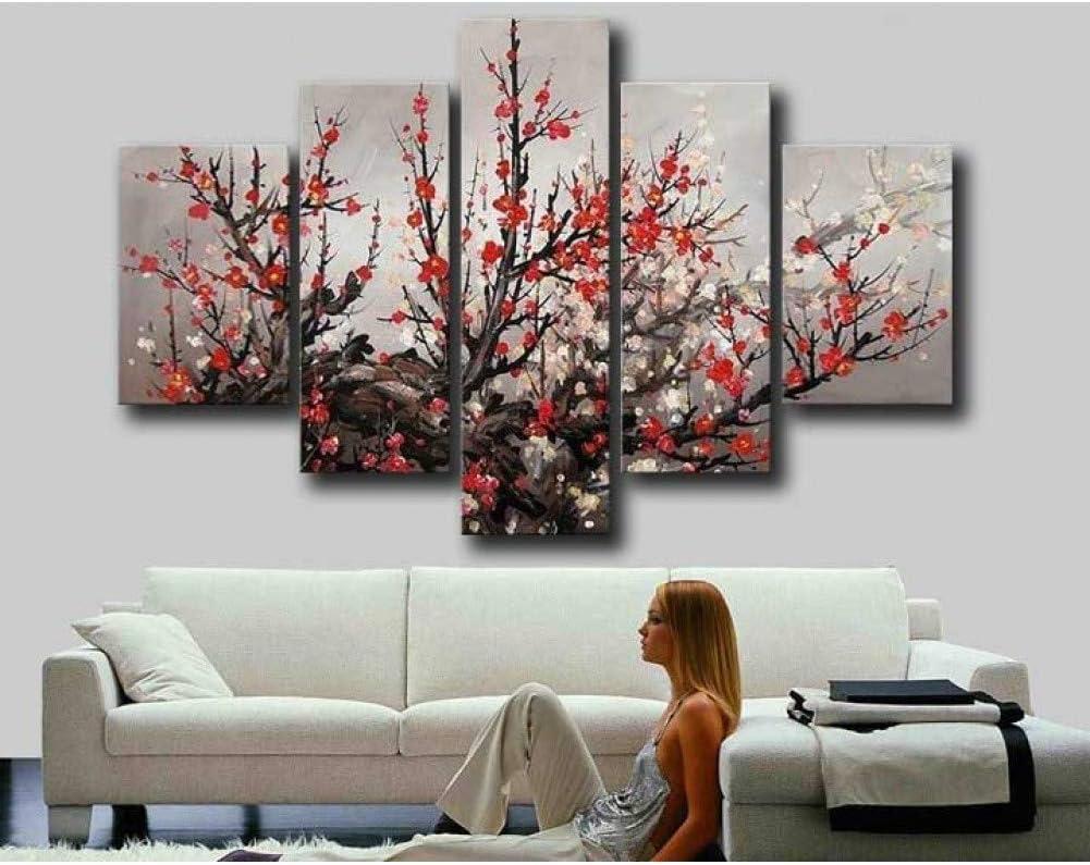 LZLZ 5 Pinturas consecutivas Pintado a Mano Moderno Gran Flor de Ciruelo Rojo Flor de Cerezo Flor Pintura al óleo sobre Lienzo Arte de la Pared decoración del hogar 5 Paneles