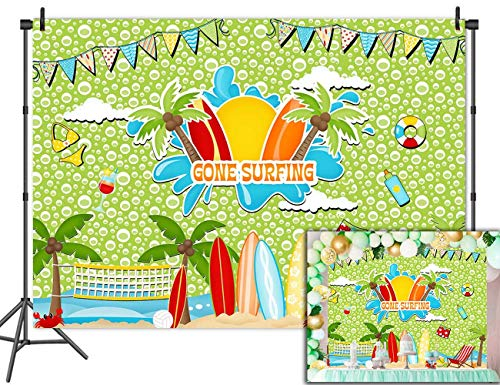 Fanghui Sailboat Surfing Vinyl 7x5ft Tropical Backgrounds Photography Summer Beach Decoration for Party Banner Backdrops Green Studio Props Wallpaper