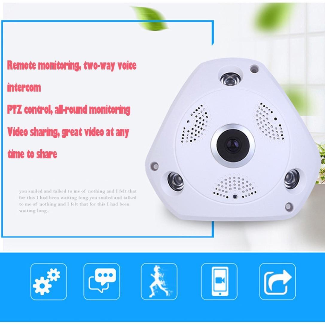 Amazon.com: Aurorax Mini 360 Degree Fisheye Panoramic IP Camera Megapixel 960P Wireless Wifi Security Camera Super Wide Angle (White): Sports & Outdoors