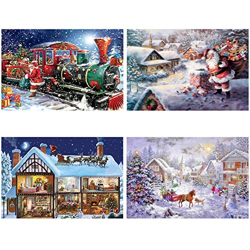 Aneco 4 Pack Full Drill 5D Diamond DIY Painting Kits Christmas Santa Rhinestone Embroidery Painting for Christmas Home Decoration