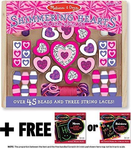 Mini Wooden Bead Set - Melissa & Doug Shimmering Hearts Wooden Bead Set (45 Beads + 3 String Laces) + FREE Scratch Art Mini-Pad Bundle [94955]