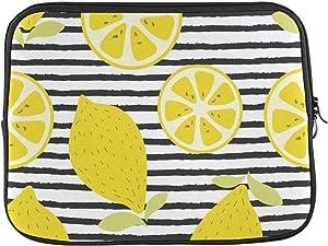 INTERESTPRINT Laptop Carrying Case Cover Citrus Lemon Fruit Stripe Pattern Notebook Computer Sleeve Bag 13 Inch 13.3 Inch