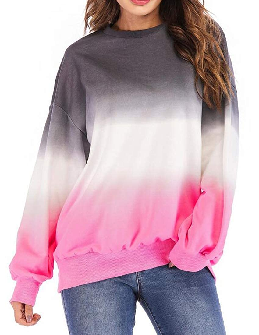 Hadudu Womens Contrast Long Sleeve Plus Size Loose Pullover Sweatshirt Top