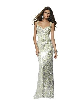 Clarisse V-Neck Sequin Jersey Prom Dress 2144, Limeade, 0