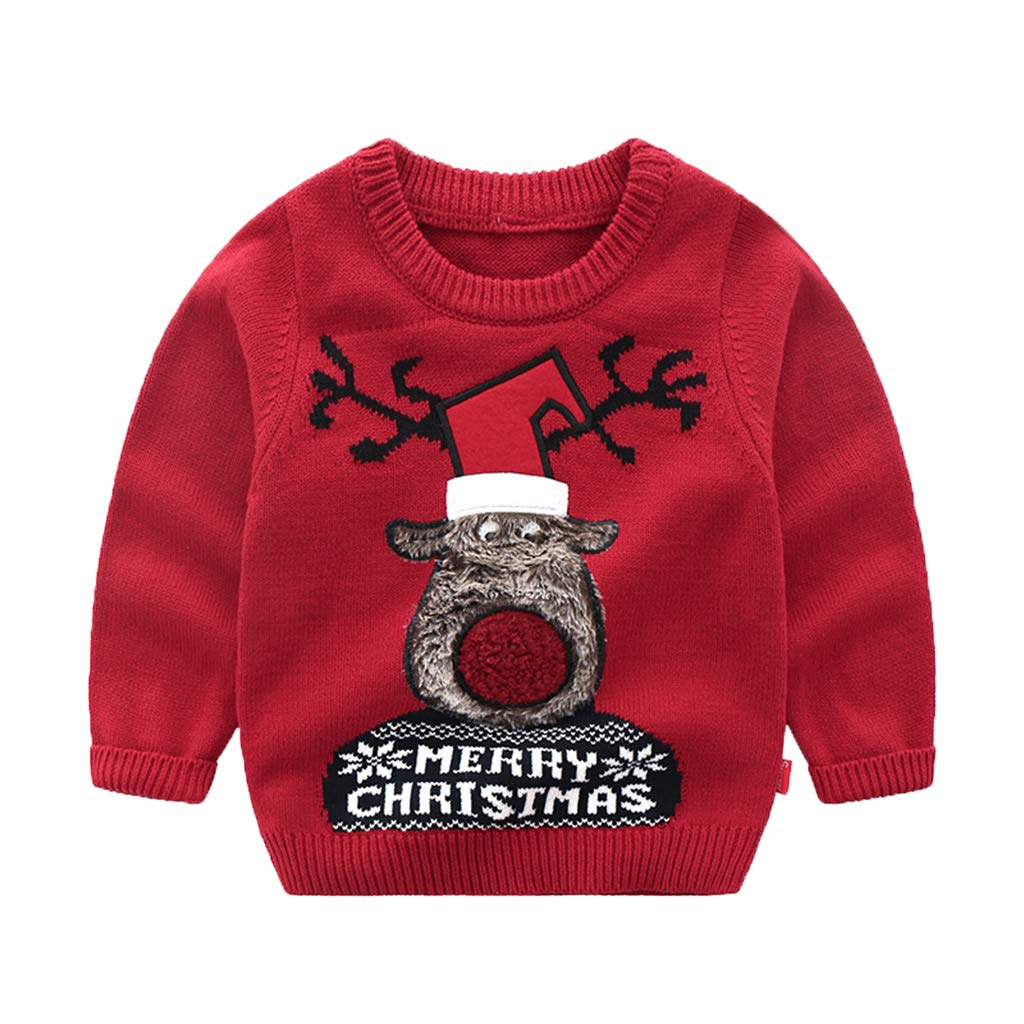 Wellwits Kids Merry Christmas Hat Fur Reindeer Pullover Ugly Sweater 2-8 Years