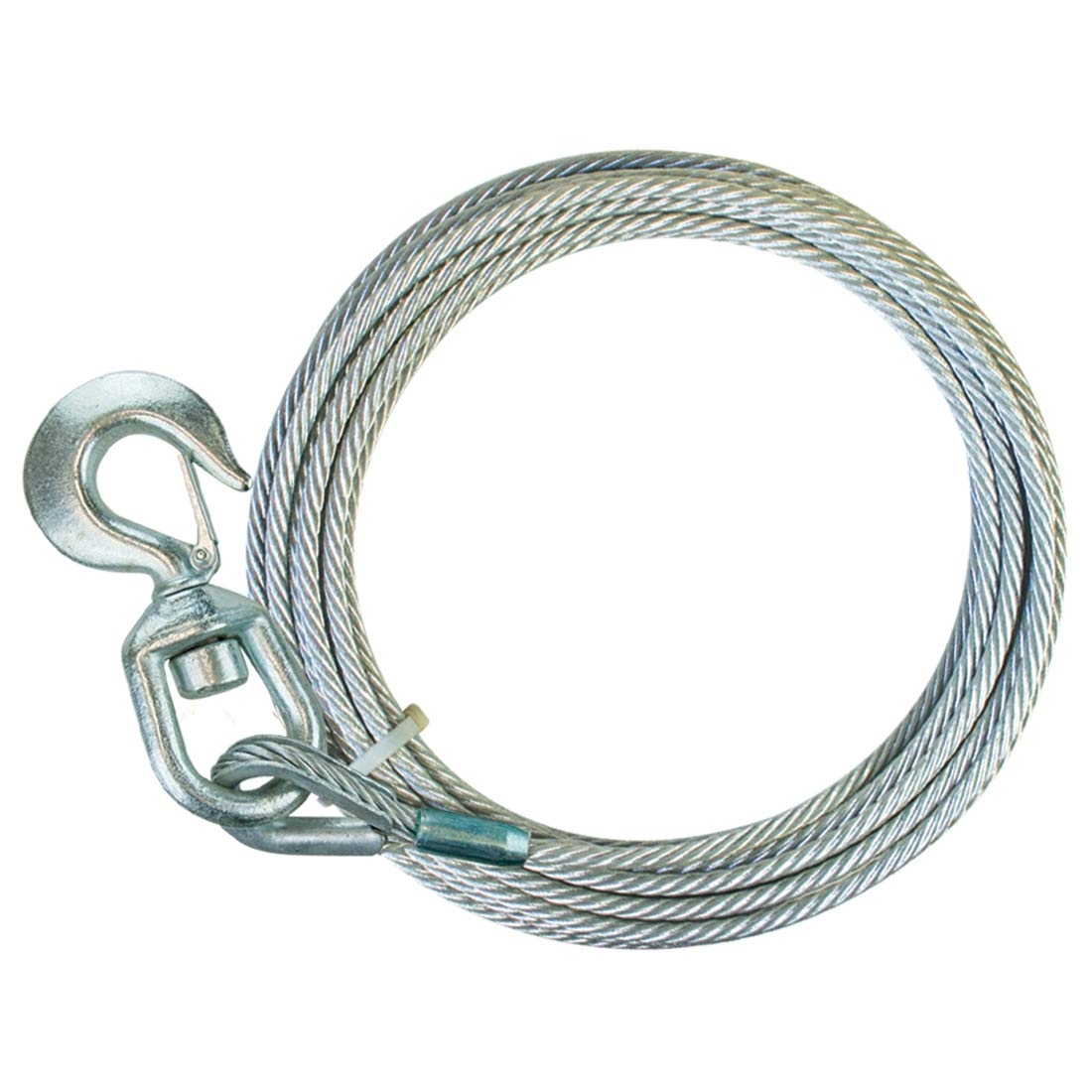 15,100 lbs 3//8 x 75 Minimum Breaking Strength Vulcan Classic Galvanized Steel Core Winch Cable with Swivel Hook