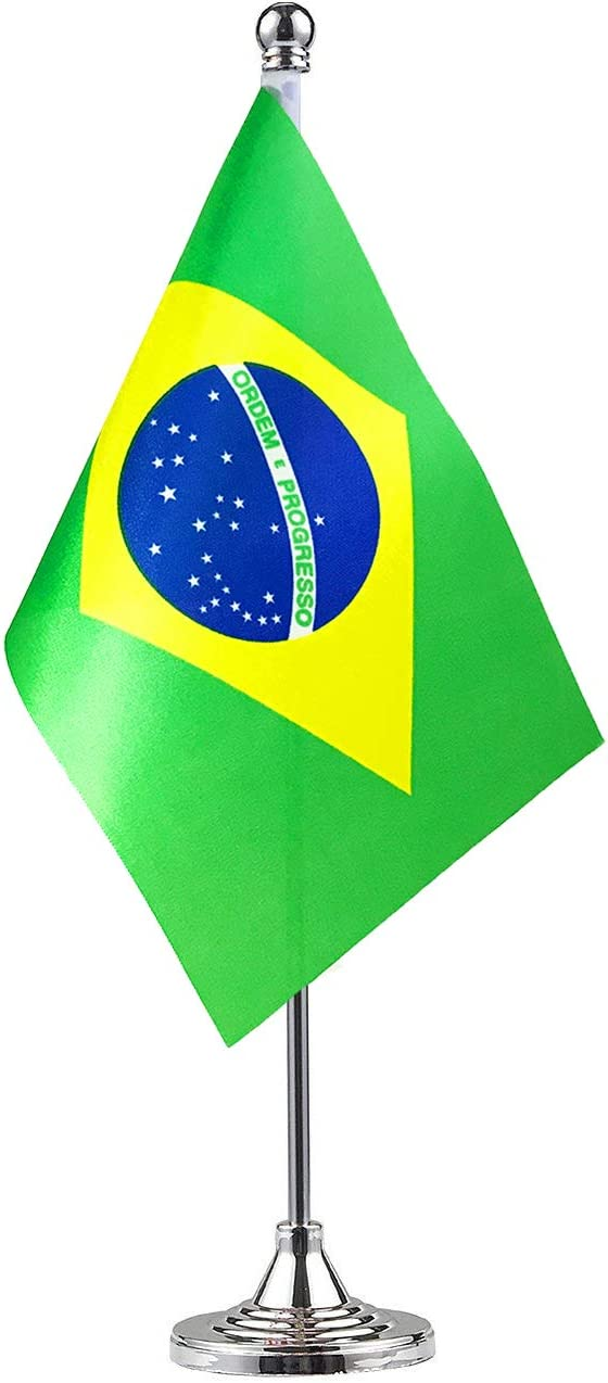Brazil Brazilian Stand Base Flag Table Desk Flag ,Metal Stand and Base and Country Flag Banners,For Home Garden Office Decoration, Festival Celebrations.