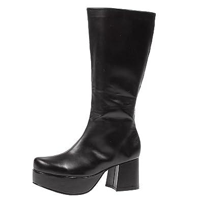 f26d66d10 Summitfashions Men's Rockstar Costume Knee High 3 Inch Chunky Heel Platform  Boots Black Poly Size: