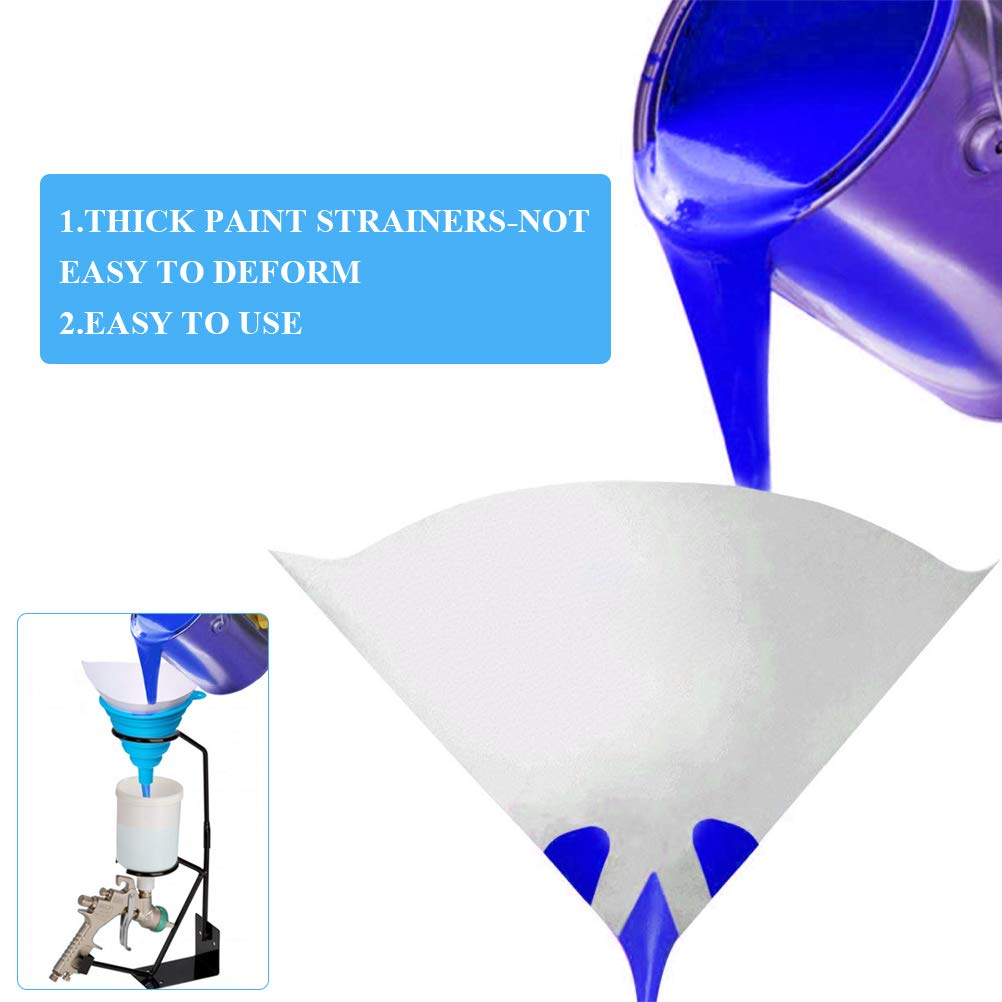 OFNMY 100cps Embudos de Filtro Desechables de 190 Malla con 1 Embudo de Silicona Adecuado para Pintura a Base de Agua o Disolventes