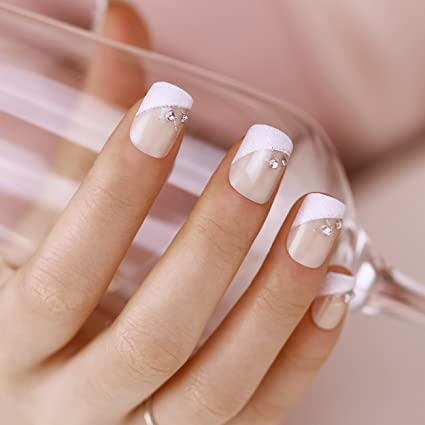 ArtPlus Uñas Postizas Falsas Artificial 24pcs Silver Crystal Elegant Touch French Manicure False Nails with Glue