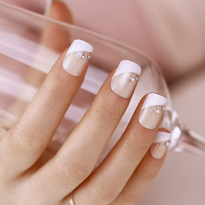 ArtPlus Uñas Postizas Falsas Artificial 24pcs x 2 (2-Pack) Silver Crystal Elegant Touch French Manicure False Nails with Glue 2 Boxes in 1 Fake Nails ...