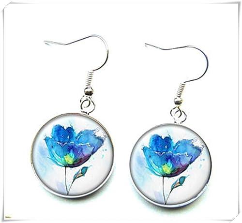 Ohrringe Blau Blumen Auf Weissem Hintergrund Glas Cabochons Dome